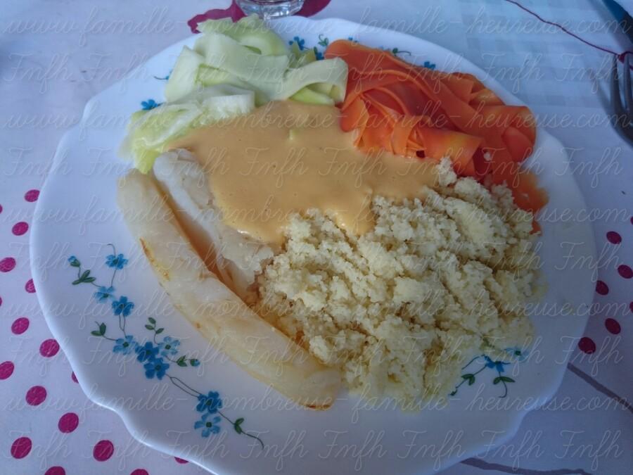 Tagliatelles de légumes, semoule et poisson (+ sauce)